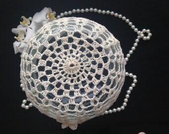 Linen hat for a girl Hand crocheted flower girl accessory Linen beanie