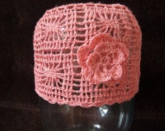 Pink linen girls hat Hand crochet girls summer beanie Knitted line accessory
