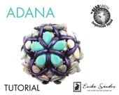 Adana beaded bead with honeycomb crescent pip bead for beadwork tutorial schema pattern instructions instant download