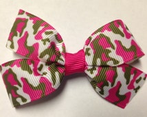 """3"""" hot pink camo willow green white camouflage hair bow clip baby toddler teen birthday party deer hunting princess mossy oak camp camping"""