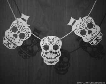 Day Of The Dead Sugar Skull Garland - Halloween Papercut Template - DIY Papercutting. PDF & PNG Download. Personal Use Only.