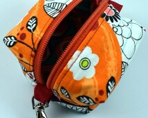 20% Off Black Friday Sale Orange and White Flower Doodles Coin Purse/ Mini Coin Purse / Clip On Coin Purse / Mini Pouch