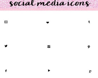 Black Social Media Icons, Simple Social Media Icons, Social Media Icons.