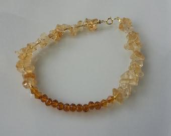 18k yellow gold bracelet, Citrine Gemstone bracelet,Gift, Minimalist,Everyday bracelet,Birthday gift,Yellow bracelet,Casual,Gift Idea,Beads