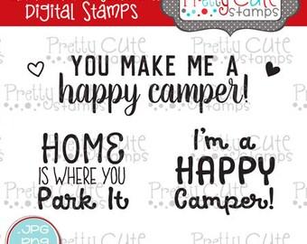 Happy Camper Sentiments DIGITAL Stamp Set