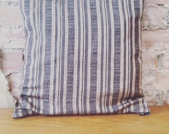 Grey And Champagne Stripes Cushion Cover