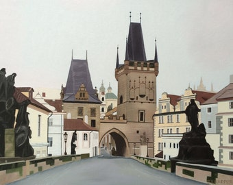 "Charles Bridge - original oil painting 18"" x 24"""