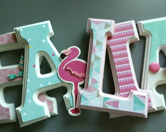 Wooden letters personalized decoration mural/Wood /decoratif letter /Wooden letters / girls room/birds/aqua/turquoise/Flamingo Pink