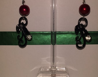 Dark Red and Black Earrings