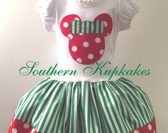 AMaZiNG Holiday Christmas 2pc. MINNIE MOUSE Disney Inspired Twirl Dress Custom BOUTIQUE Pageant All Sizes REd White Green Polka Dots Mickey