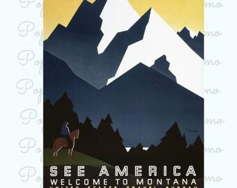 Montana Travel Poster, See America Print,Montana Poster Art,Vintage Posters,Dorm Decor,America Tourism Print, Home Decor,Retro Travel Poster
