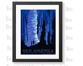 See America Poster, US Travel Poster, USA Tourism, WPA Poster, Landscape Wall Art, Living Room Wall Decor, Housewarming Gift, Apartment Art