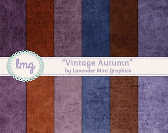 Vintage Autumn Digital Scrapbook Papers - Fall Colors, Junk Journal, Vintage Journal Paper, Shabby Chic, Instant Download, Commercial Use