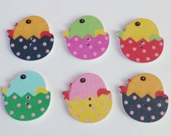 Wooden Easter Chick Buttons X 6, Easter eggs,
