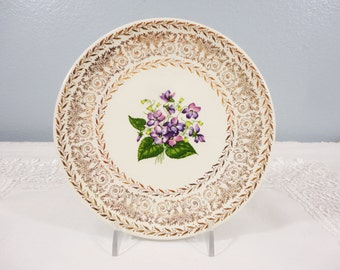 Vintage Violet and Gold Filigree Off White Bone China Plate