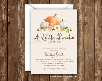 Fall Baby Shower Invitation A Little Pumpkin is on the way Orange Pink Fall Invitation Autumn Invite Shower Invite 5x7 Digital or Printed
