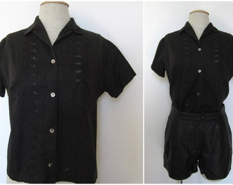 Black blouse embroidered