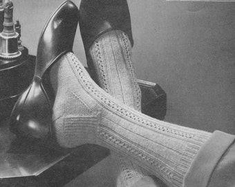 Vintage funky knitted mens sock pattern