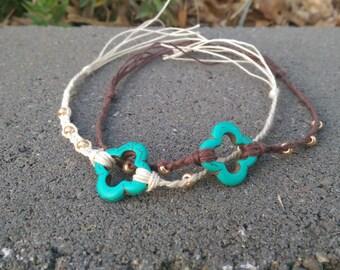 Hemp Friendship Bracelet with Gold Beads