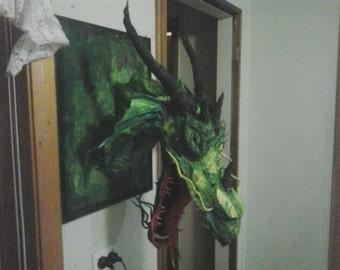 Dragon Trophy head paper/cloth mache