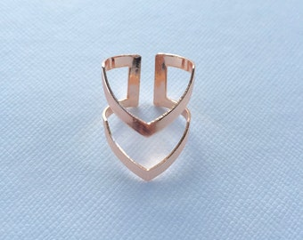 Rose Gold Double Chevron Ring
