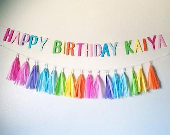 Rainbow Happy Birthday Banner and Tassel Garland | Pastel Rainbow Tassel Garland | Tassel Banner | Rainbow Party | 1st Birthday Decorations