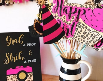 Photo Booth Props   Birthday Photo Booth Props   Leopard Party Decor   Cheetah Party Decor   Pink Party Decor   Wild One party   selfie stat