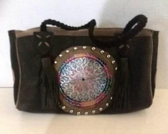 Gipsy Leather Bag, Vintage Fabrics