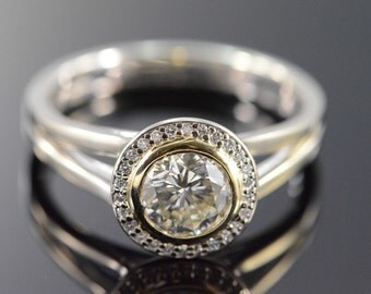 14K 0.96 CT Round Diamond SI3 L Bezel Set Diamond Halo Engagement Ring - Size 7 / White Gold - EM1576