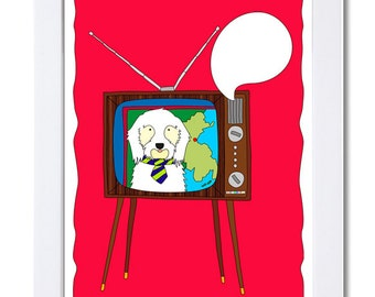 Mr. Dog is reading the News  on the Telly-Illustration-Cartoon-Mid Century-Dog