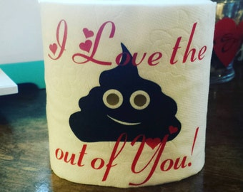 Personalized Toilet Paper, Funny Gag Gift, Bathroom Decor, Gift for Coworker, Gift for Friend, Poopie Emoji