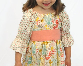 Girls Easter Dress - Girls Spring Dress - Spring Dress - Girls Peasant Dress - Girls Dress with Sash