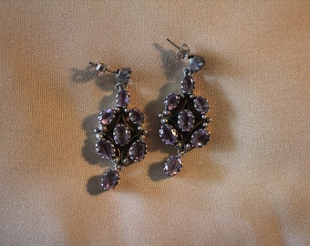 Amethyst ornate silver earrings