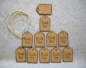 "Die cut & Inked Natural Cork Hang Tags with Natural Hemp Strings for Hanging. ""Thank You"""