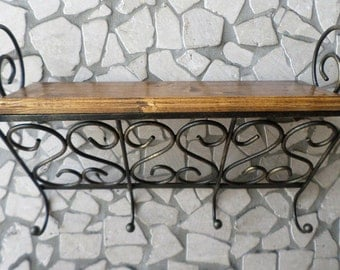 Wrought iron and wood shelf Spice rack with 4 hooks kitchen pot holders