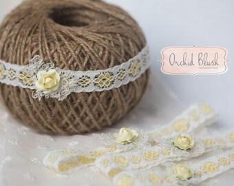 Handmade Newborn stretch headband. Floral yellow. Photography prop