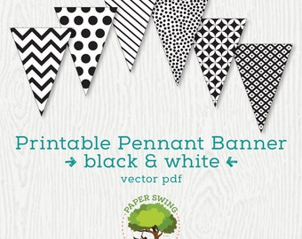 Printable Black & White Pennant Banner