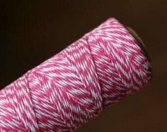 Hot Pink and White Bakers Twine / Baker's Twine / 100 Yard Spool / 4 Ply