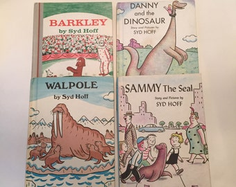 Syd Hoff Books / 4 Vintage I Can Read Books Danny and the Dinosaur, Walpole, Barkley, Sammy the Seal by Syd Hoff Hardcovers