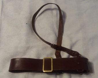 Vintage WWI / WWII British Army Officer's Brown Leather Sam Browne Belt
