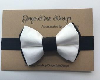 Tuxedo Bow Tie; Black and White Bow Tie; Double Layer Bow Tie; Baby Bow Tie; Toddler Bow Tie; Boy Bow Tie; Adjustable Bow Tie