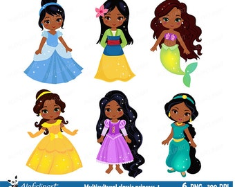 Multicultural Classic Princess,  Princess clip art, Princess African American Clipart for Personal and Commercial Use