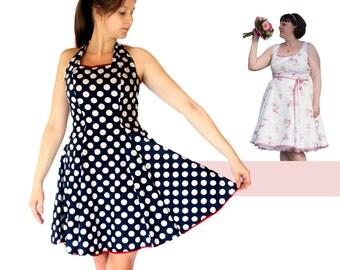 Women Dress PDF sewing pattern - AnniNanni Dress - evening dress - halterneck dress - vintage dress - wedding dress - summer dress - skirt