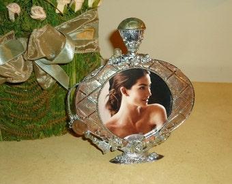Vintage, Photo Frame, Rose Perfume Bottle  Relief  and Faux Enamel Finish , 3  x 3 Photo size