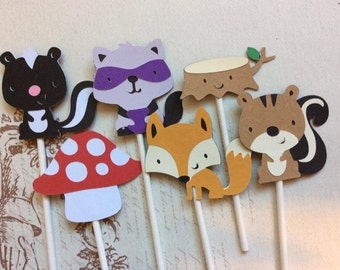 12 Detailed Woodland Friends Cupcake toppers