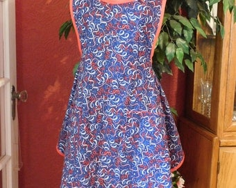 4th of JULY LADIES APRON -- red, white strimmers on royal blue