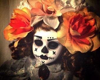 day of the dead ooak doll creepy Gothic Horror art ChristieCreepydolls