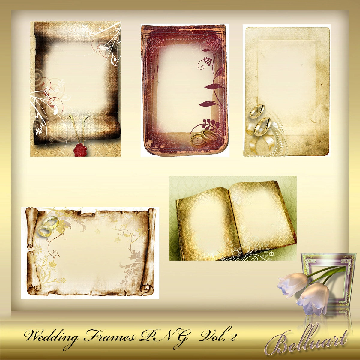 Png frame wedding set anniversary silver
