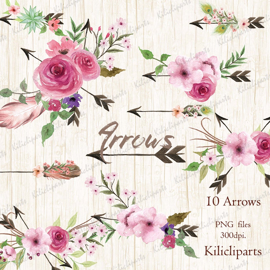 Arrows Watercolor Clipart 10 Hand Painted Arrows Feathers