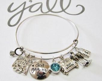 Something Blue Bride Bridal Gift Charm Adjustable Expandable Bangle Bracelet Keepsake Memento Jewelry Gift for Her Bride loUiSiAnaCre8ions